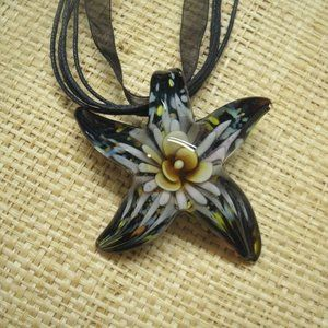Murano Glass Floral Starfish Necklace